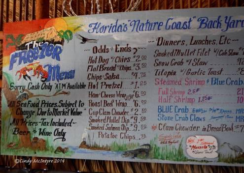 The Freezer menu - Cash Only!