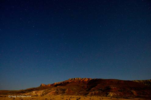 Fossil Butte and stars in the moonlight