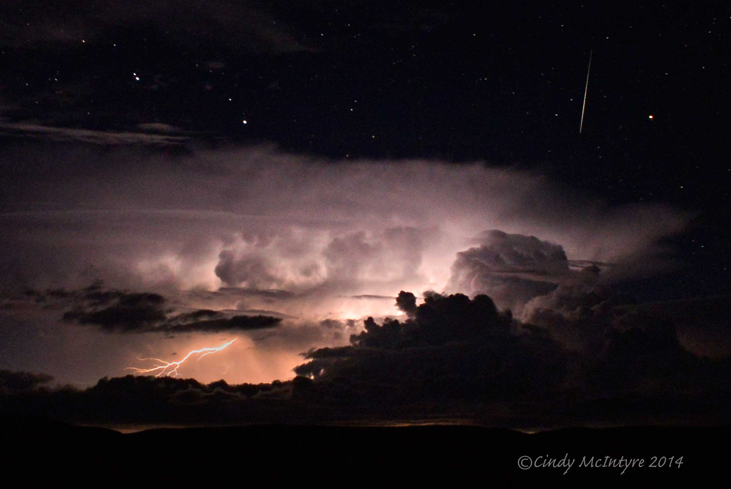 Lightning, stars, and a meteor