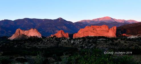 Garden of the Gods at dawn, with Pikes Peak to the right
