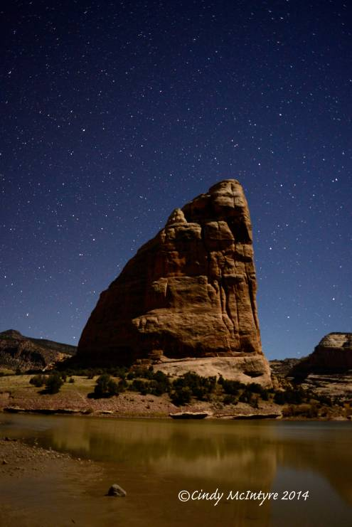 Steamboat Rock, moonlight, and stars