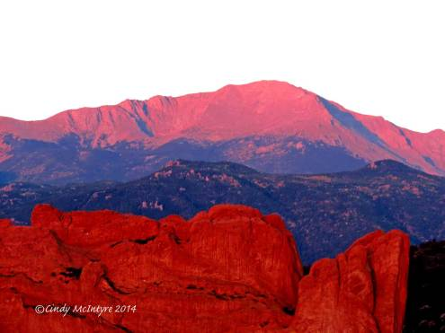 PIkes Peak and one of the rock fins from Garden of the Gods
