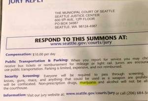 Ryan was called to jury duty.  Pot is specifically listed as one of the excluded items in the courtroom.