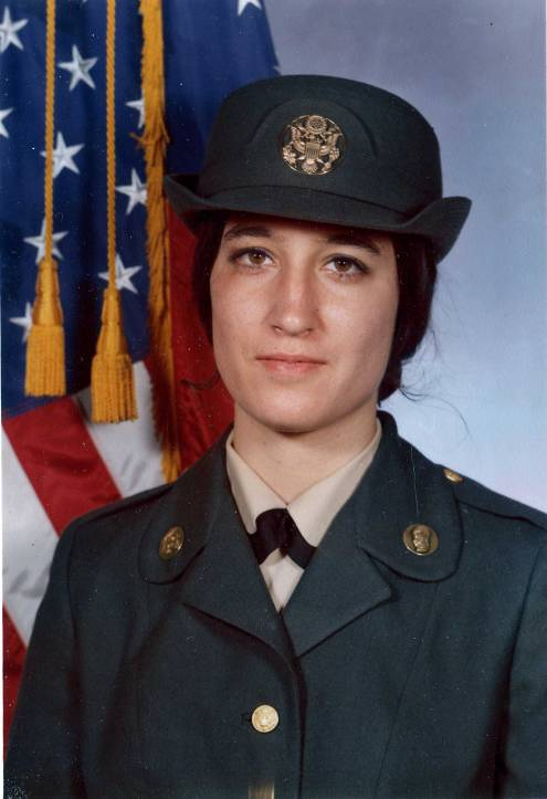 Cindy Bourgeois McIntyre as an 18-year Women's Army Corps recruit, 1974